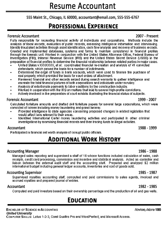 accountant resume example sample - Accountant Resume