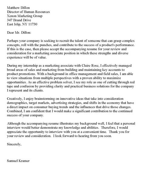 Internship cover letter example for Cover letter for non specific job