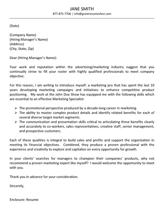 Advertising cover letter example altavistaventures