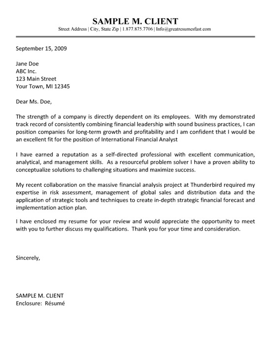 strategy analyst cover letter - financial analyst cover letter example