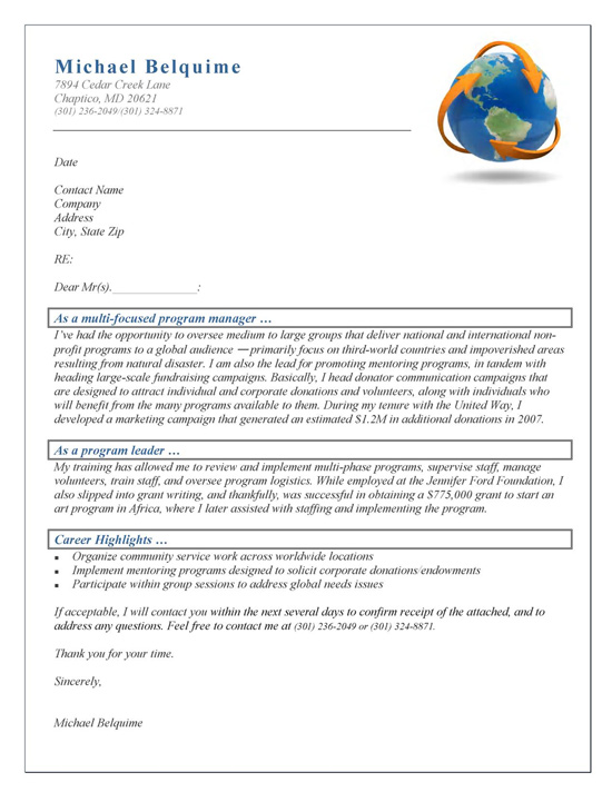 program manager cover letter example