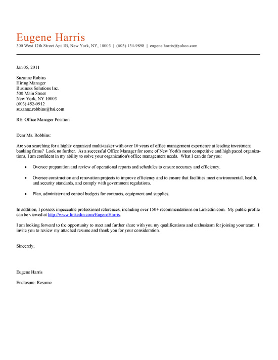 Cover Letter Template Office Job