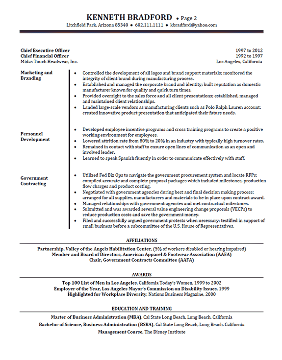 High Level Executive Resume Sample