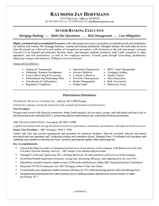 mortgage banker resume example
