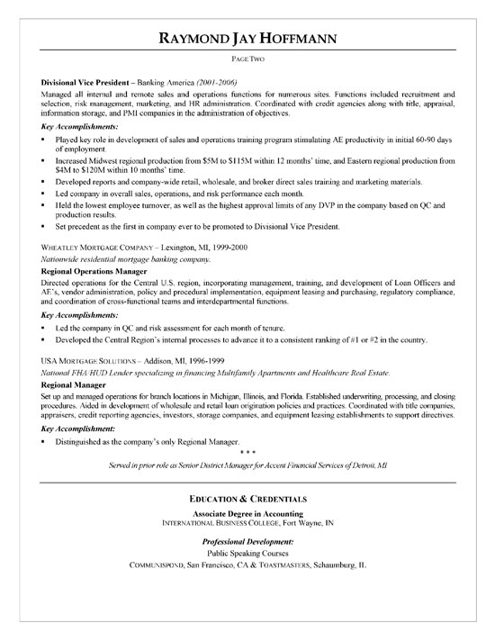Mortgage Banker Resume Sample