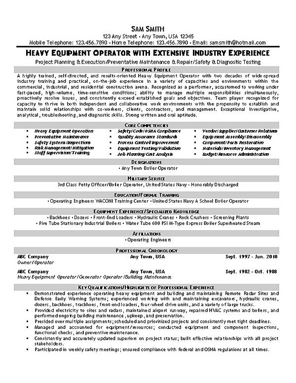 Equipment Operator Resume Example