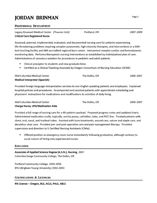Emergency Room Nurse Resume Example
