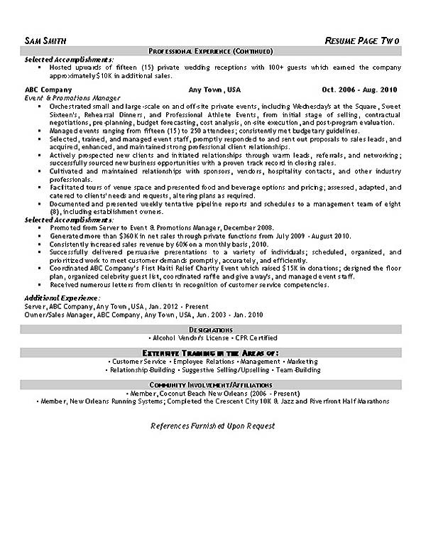 event planner resume example