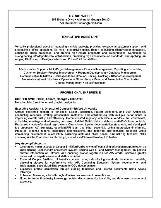 Nice Executive Assistant Resume Example