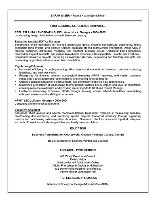 Executive assistant resume example sample for Sample resume for executive assistant to senior executive