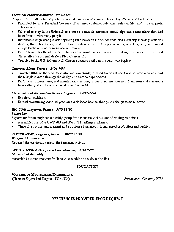 Manufacturing Executive Resume Example