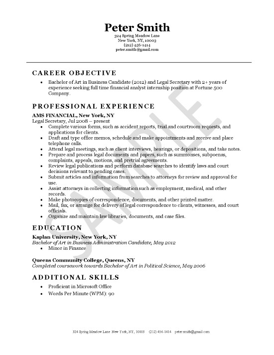 Legal secretary resume example.