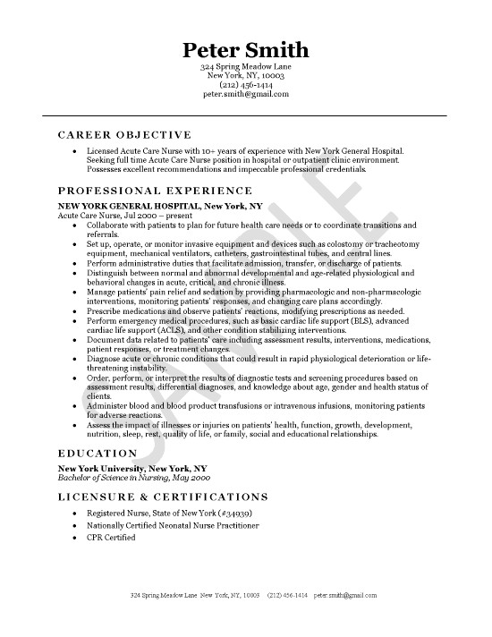 Acute Care Nursing Resume Example