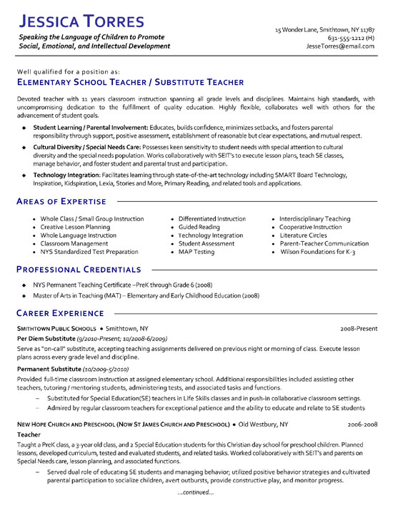 Resume Example Substitute Teacher
