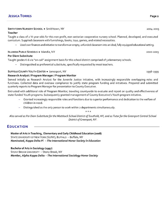 Substitute School Teacher Resume Example