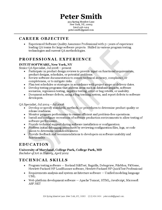 Software Examples For Resume | Quality Assurance Resume Example