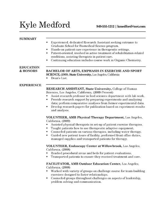 Resume Work Experience Biology Sample Phd Level