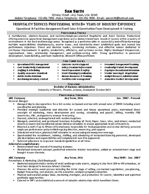 Resume Examples For Hospitality | Hospitality Resume Example