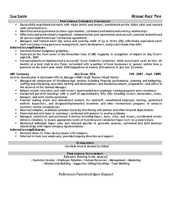 event hospitality resume example