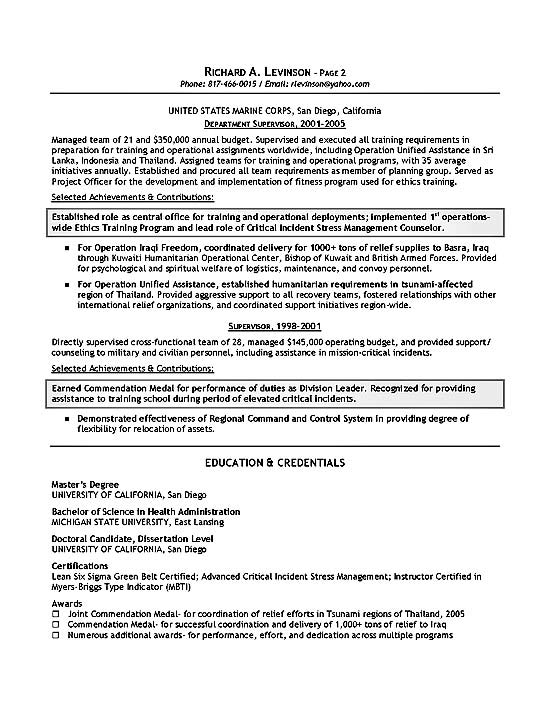 Department Management Resume Example