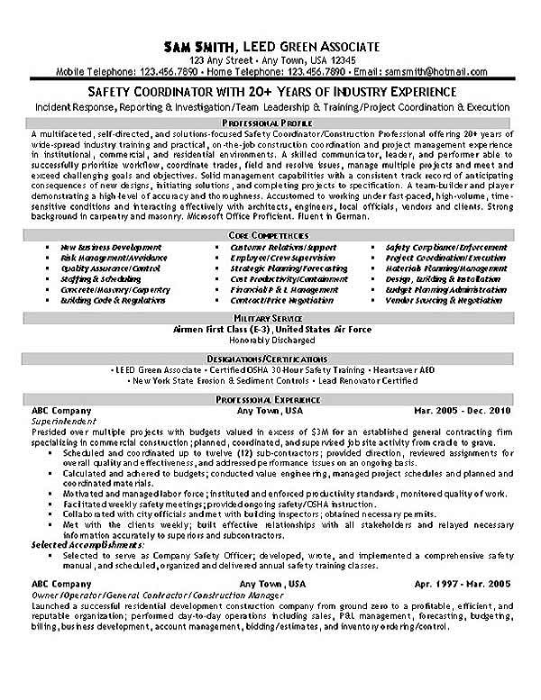 Safety coordinator resume example - Qualifications for compliance officer ...