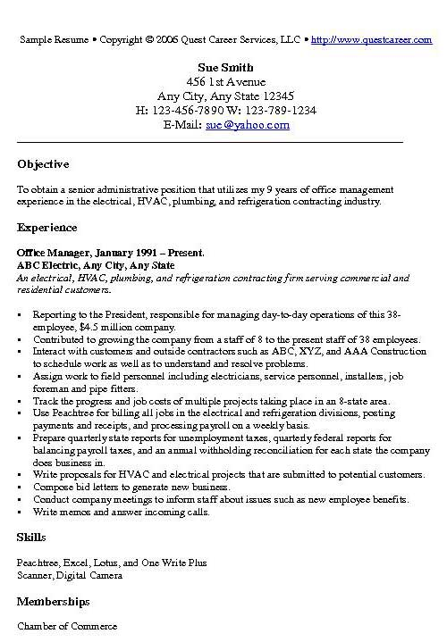 Office Manager Resume Example Sample