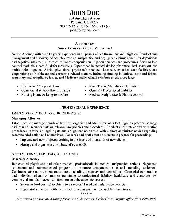Top 8 litigation attorney resume samples.