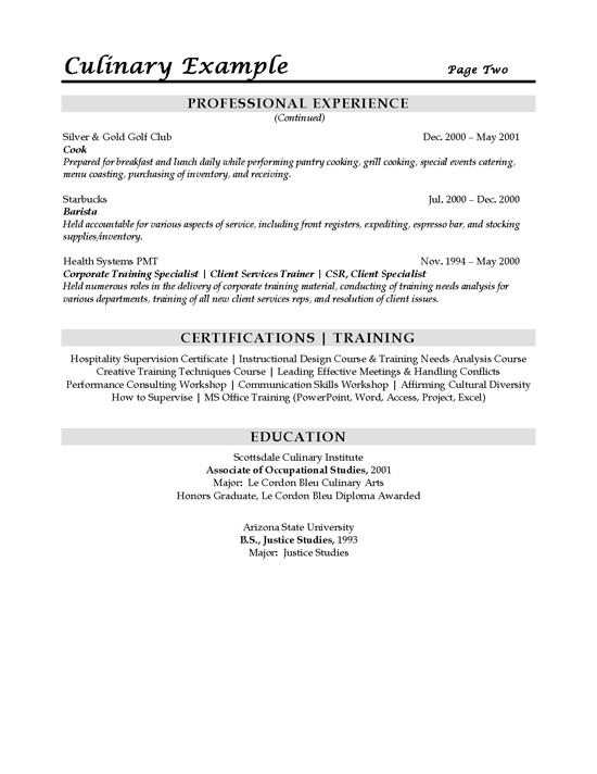 Sous chef resume example for Sample resume for culinary arts student