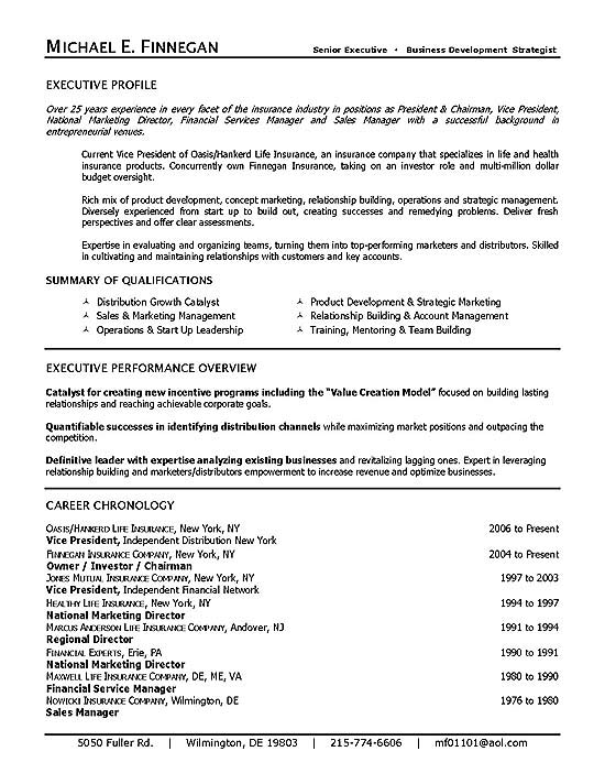 insurance resume example sample