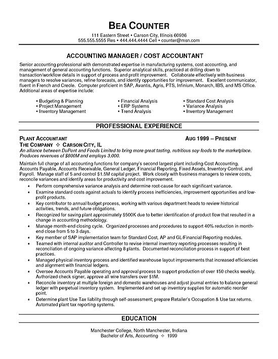 cost accountant resume example
