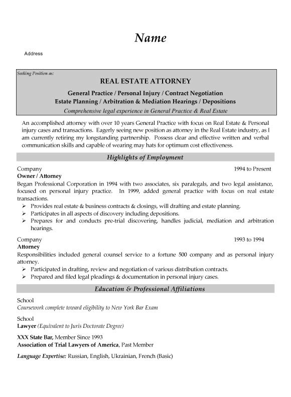 real estate attorney resume example. Black Bedroom Furniture Sets. Home Design Ideas