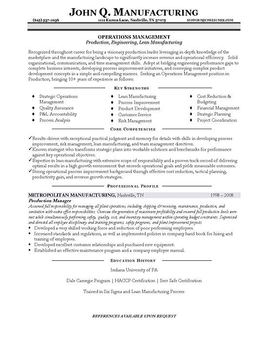 Operations Manager Resume Examples Uk