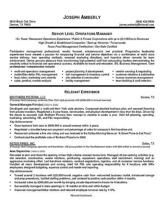 Operations Assistant Manager Resume