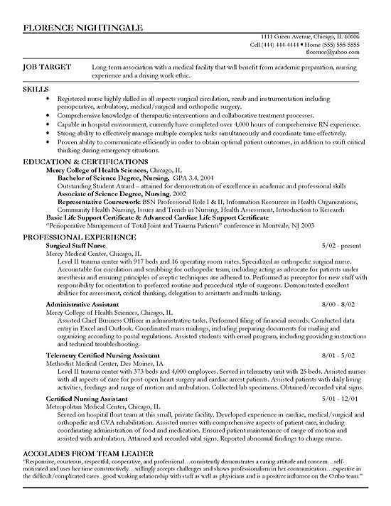 Registered Nurse Resume Templates | Staff Nurse Resume Example