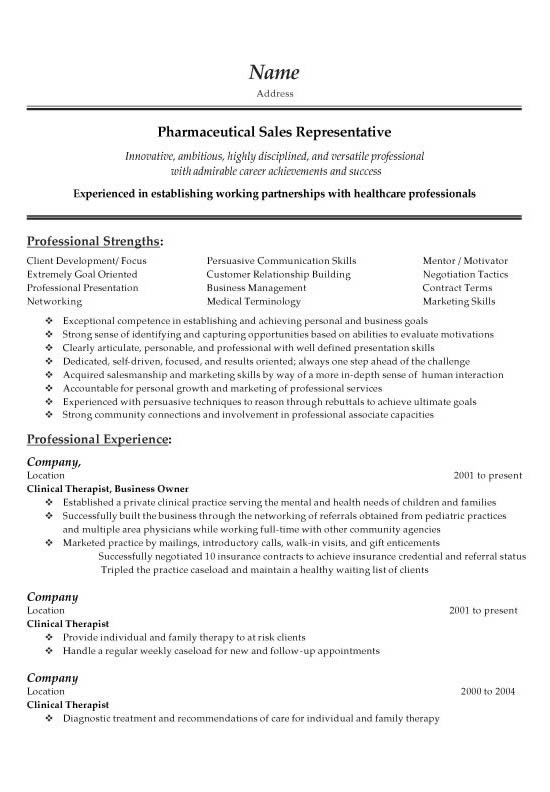 Pharmaceutical Sales Representative Resume Example