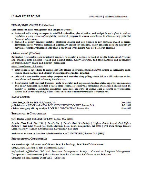 Law Litigation Attorney Resume Example