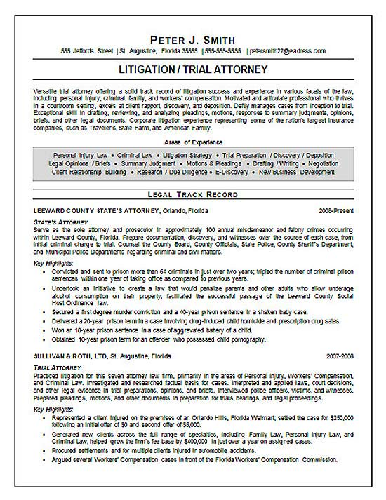 Lawyer Resume Summary