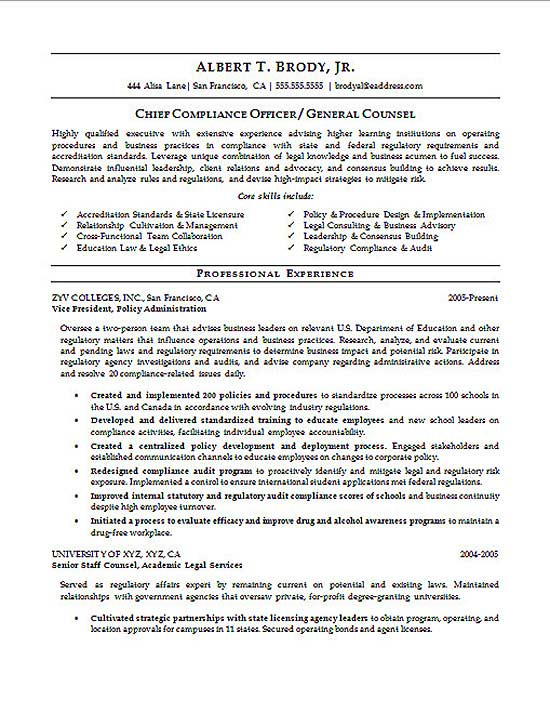 Examples Of The Education Section Of A Resume