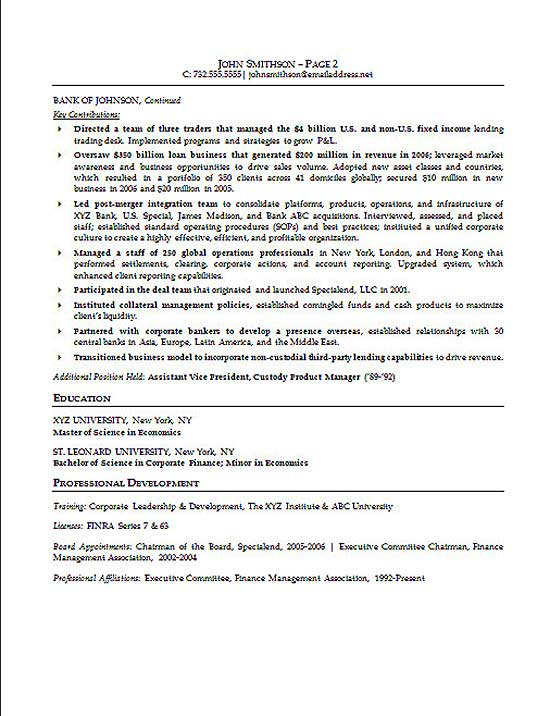 Financial Executive Resume Sample