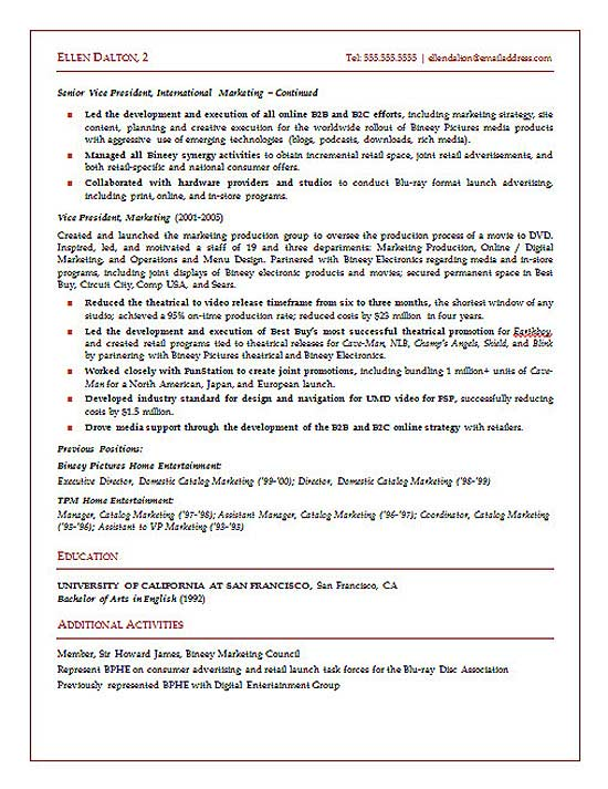 Strategic Marketing Executive Resume Sample