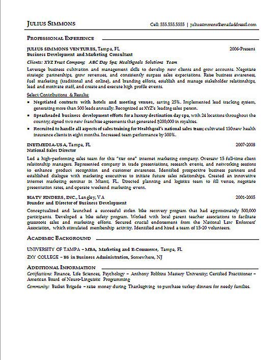 Marketing Executive Resume Example