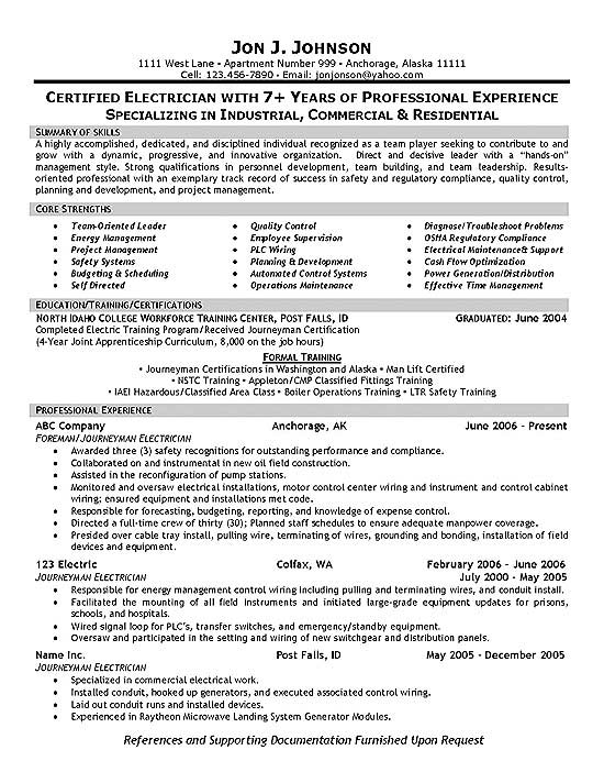 electrician resume example - foreman