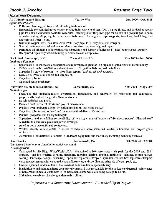 Irrigation Plumber Resume Example