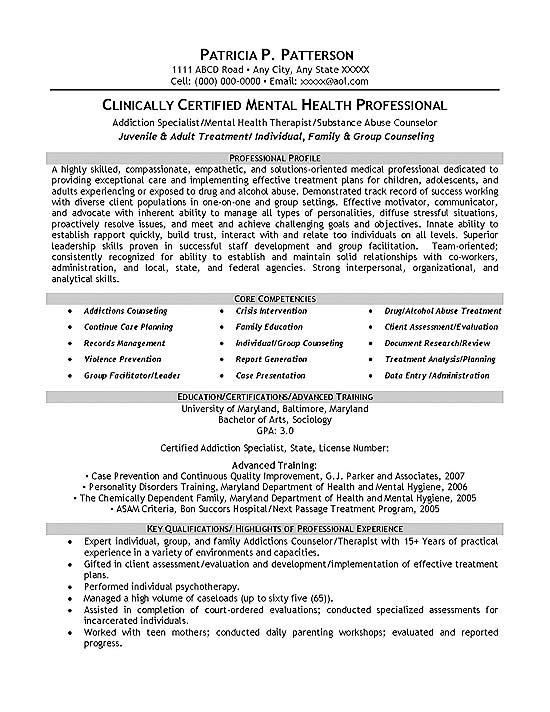 therapist counselor resume example