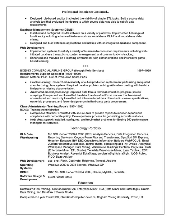 IT Technical Trainer Resume Example