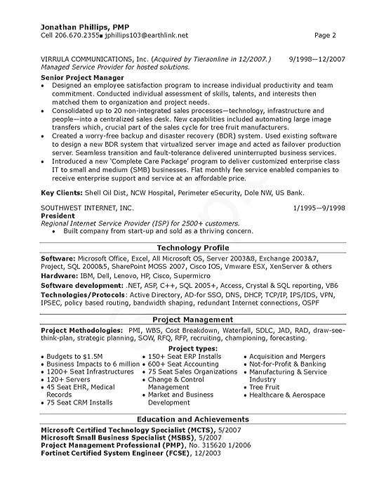 Senior Technical IT Manager Resume Example