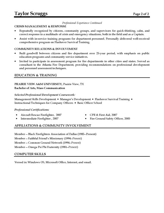 Fire Chief Fireman Resume Example