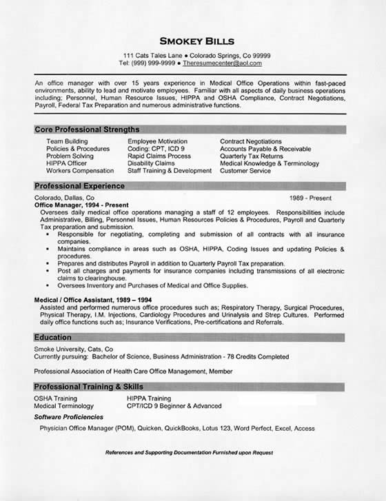 Medical Office Manager Resume Example