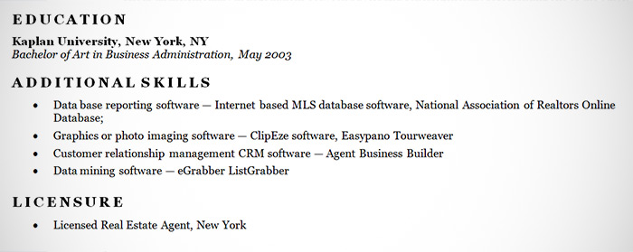 Real Estate Agent Resume Example - Sample