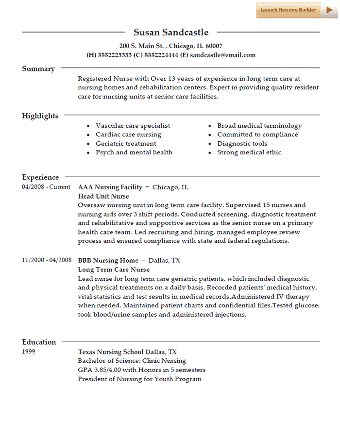 nurse resume template example